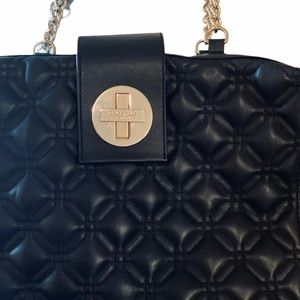 NWOT KATE SPADE QUILTED BLK LEATHER W GOLD